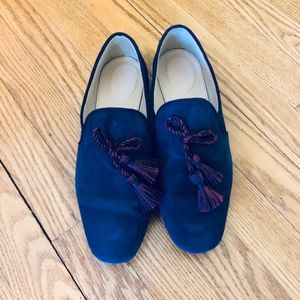 J Crew Blue Suede Smoking Loafers/Slippers, Sz 9.5